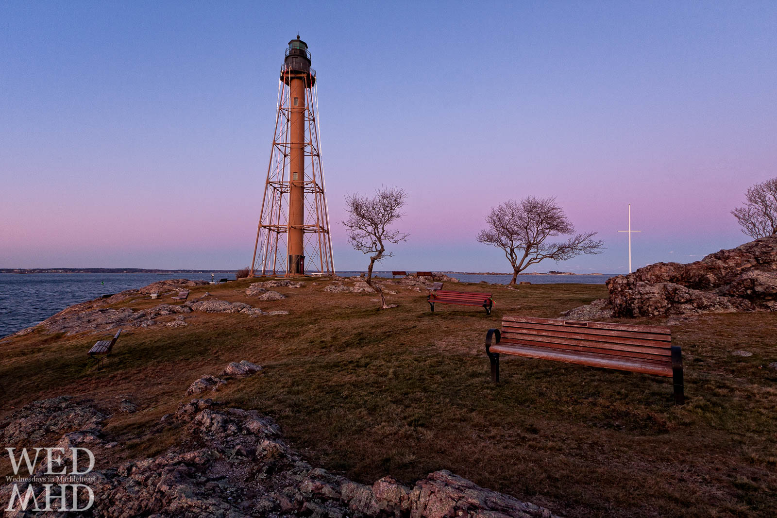 A string of lights on Marblehead Light ushers in the Holidays. Each year the Rotary Club hangs lights from atop the lighthouse to add a festive touch to Chandler Hovey Park.
