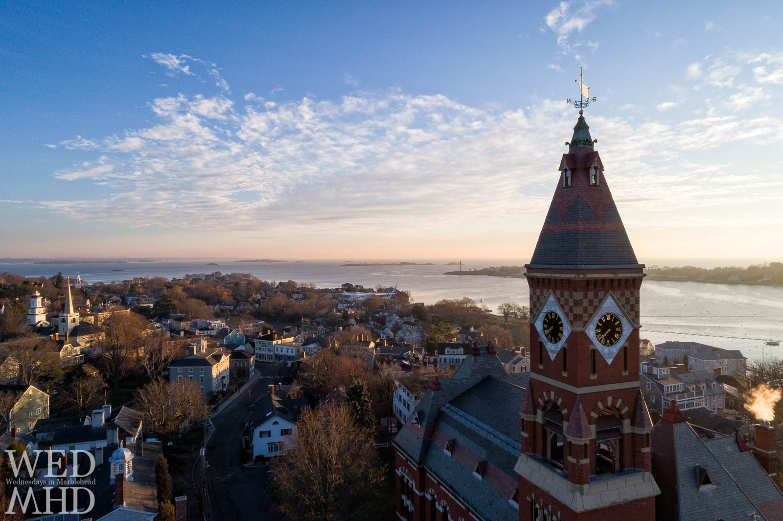 That moment when you realize a whole new world is suddenly at your fingertips - light dawns on Marblehead in one of my first aerial view of historic downtown