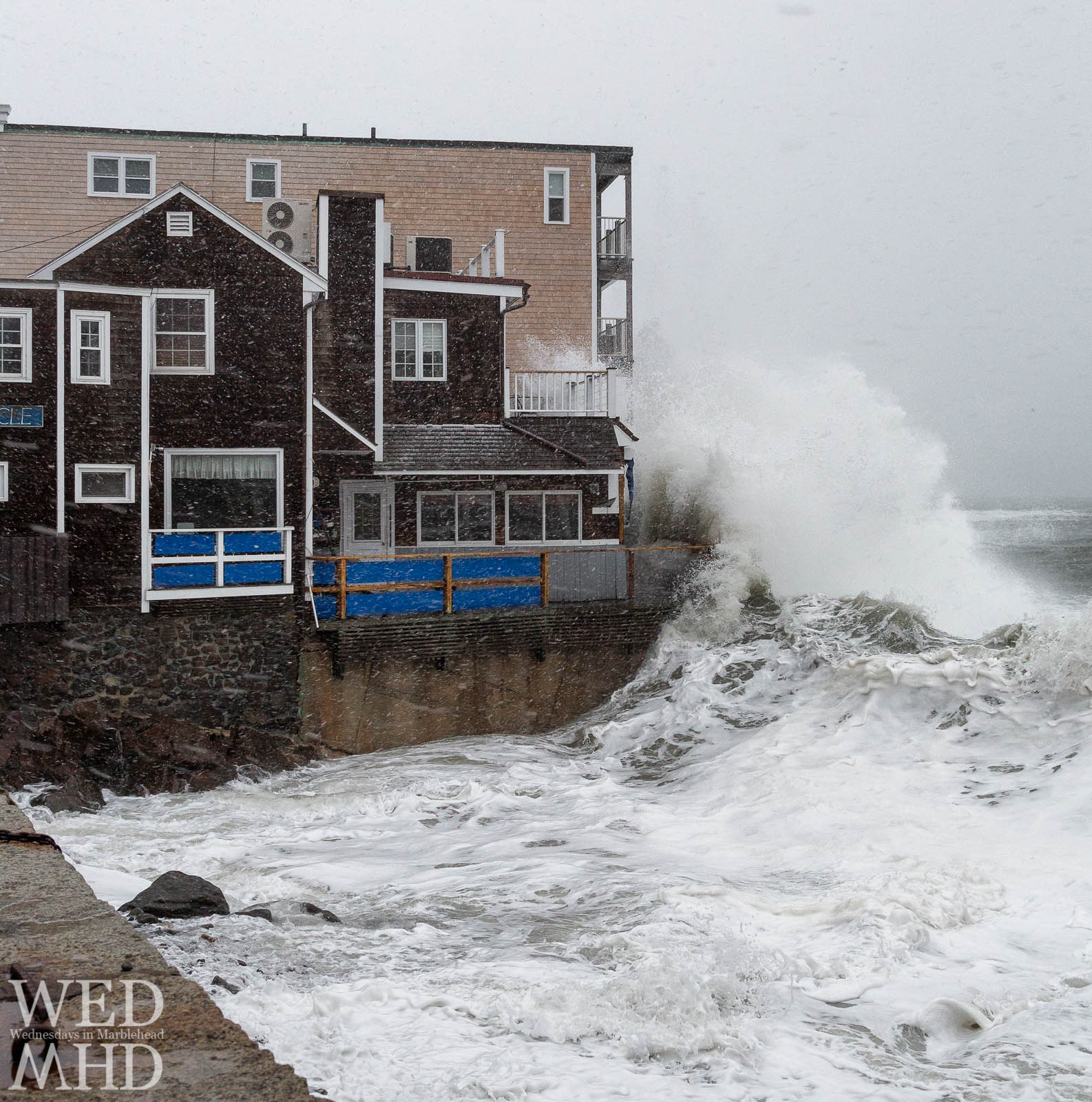 Best place to watch a Nor'Easter in Marblehead is Lovis Cover as the ocean meets the barnacle and waves explode high above the water