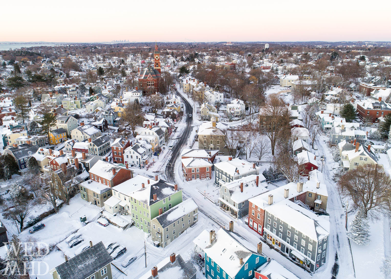 A winter wonderland on Washington Street with a fresh coating of snow covering historic homes downtown and along Washingont Street leading to Abbot Hall