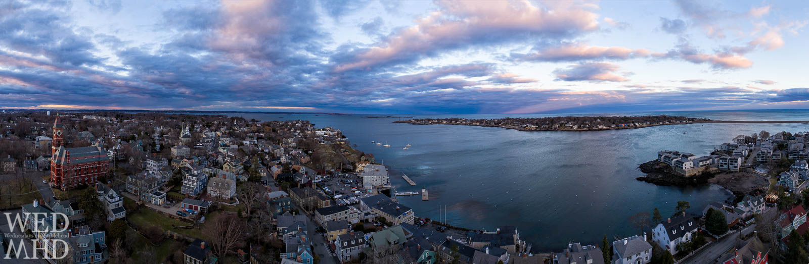 An aerial panorma of historic downtown Marblehead takes in familiar landmarks and the Neck in this Old Town sunset