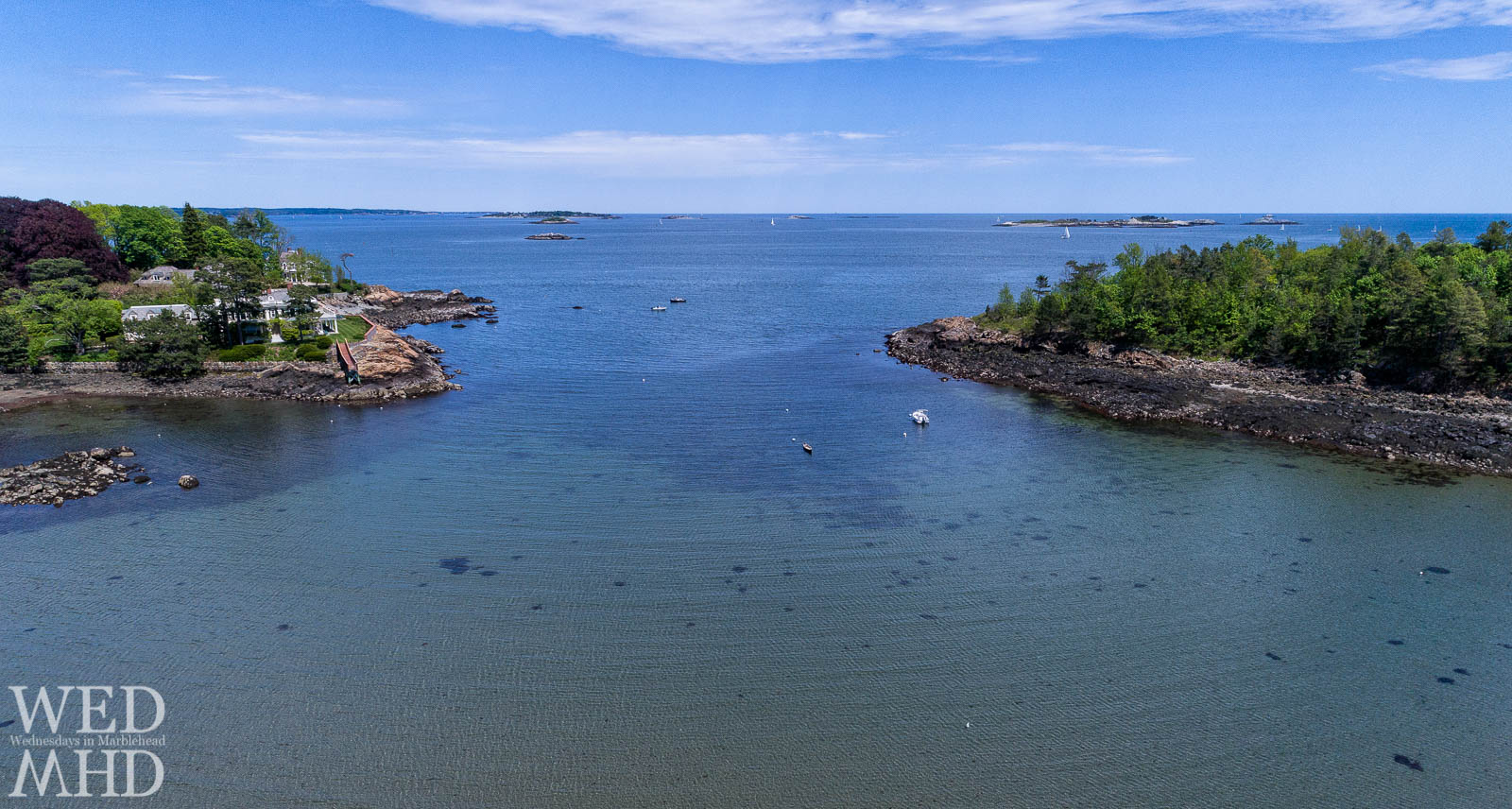 An aerial view of Doliber Cove illustrates the shallow water, Brown's Island and a uniquely shaped Dr Seuss tree