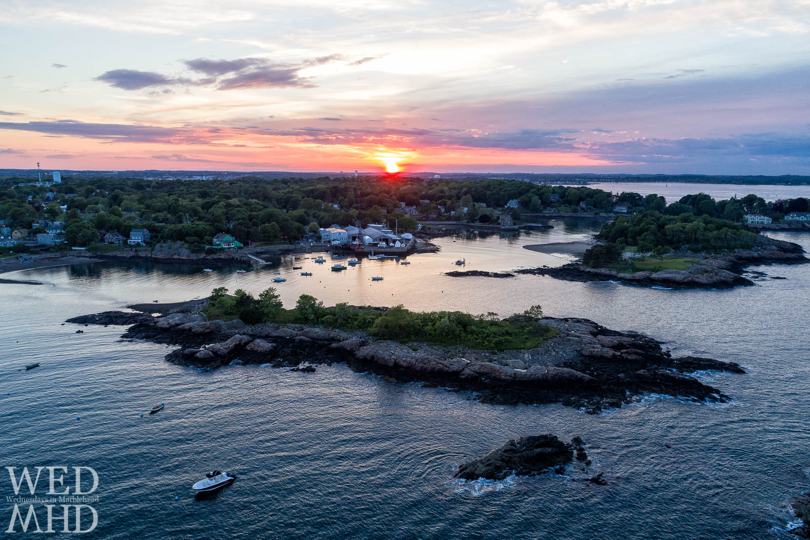 The last light of day reflects off Little Harbor in this Gerry Island sunset captured from above