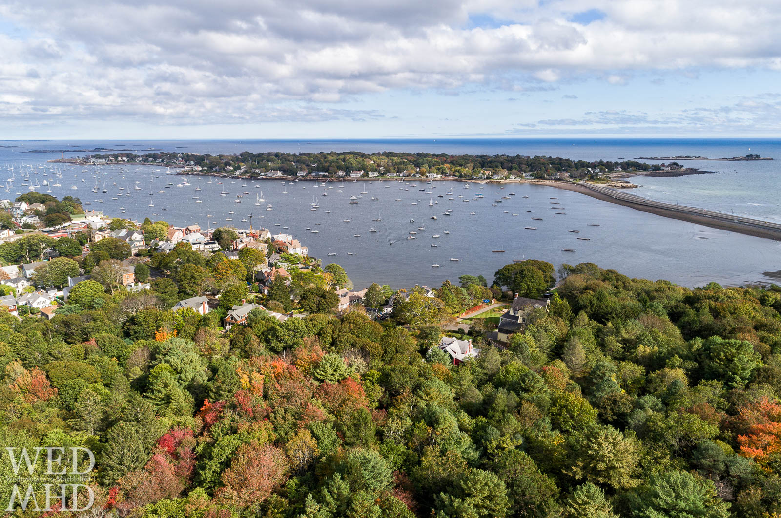 Patches of color show that fall is in the air in this mid-October aerial view over Seaside park