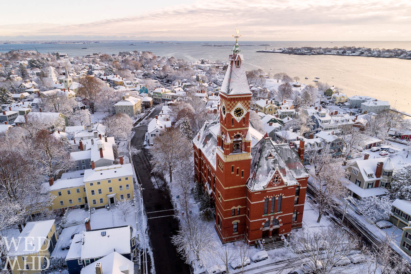 Abbot Hall is painted in white as Marblehead lies under a blanket of freshly fallen snow. There's something magical about the first snow of the season.