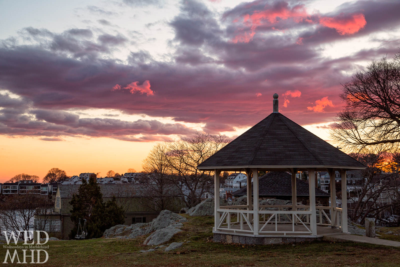 A late November image from Crocker Park focuses on the gazebo at sunset