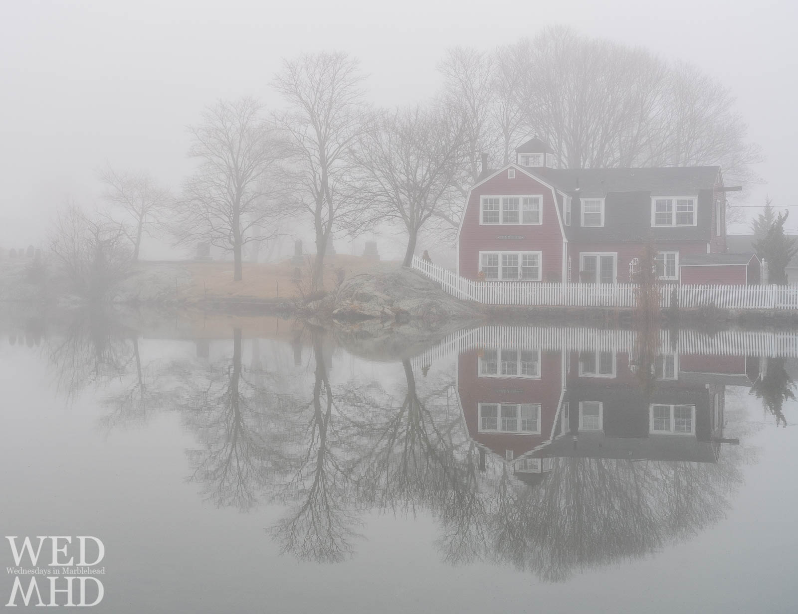 Thick fog adds a sense of isolation and calm on this foggy morning at Redd's Pond