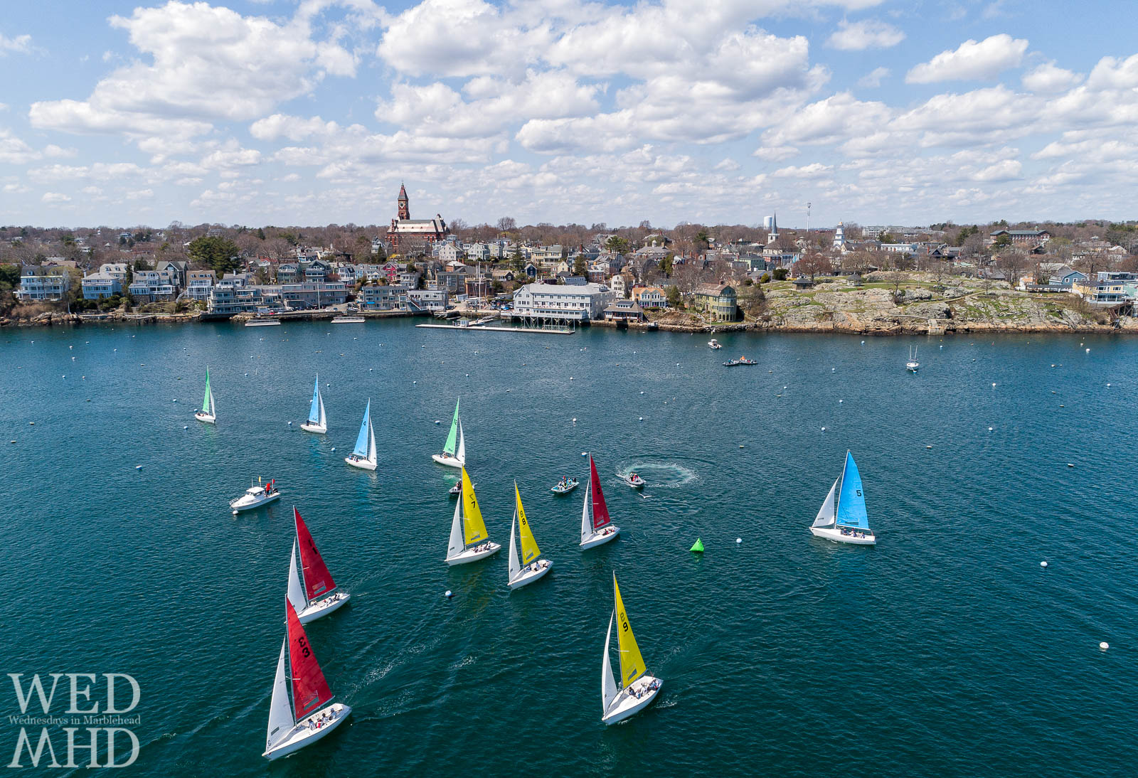 The Boston Yacht Club's 20th annual Jackson Cup race takes place inside Marblehead Harbor on a perfect April day
