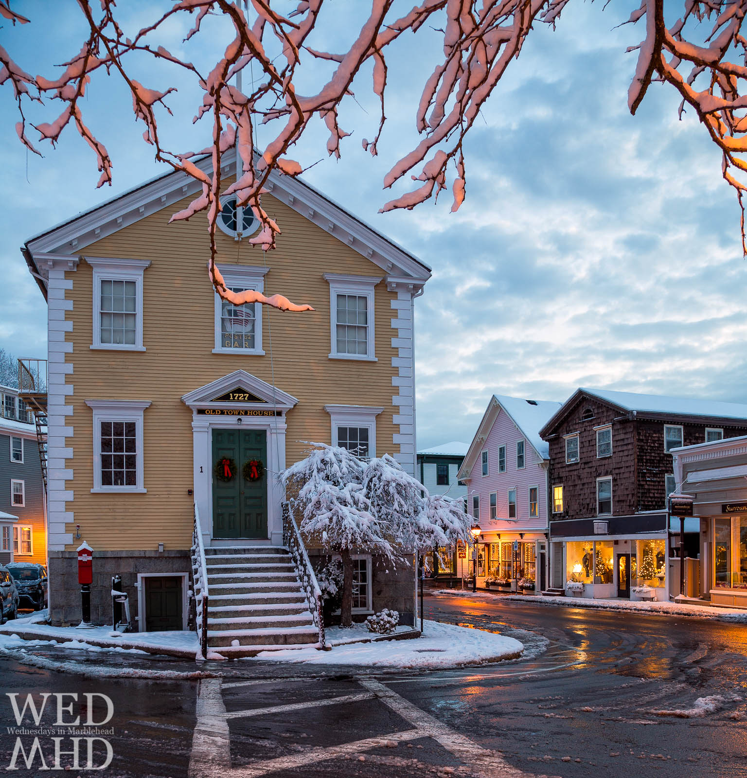 Snowy branches frame Old Town House on this morning in historic downtown Marblehead