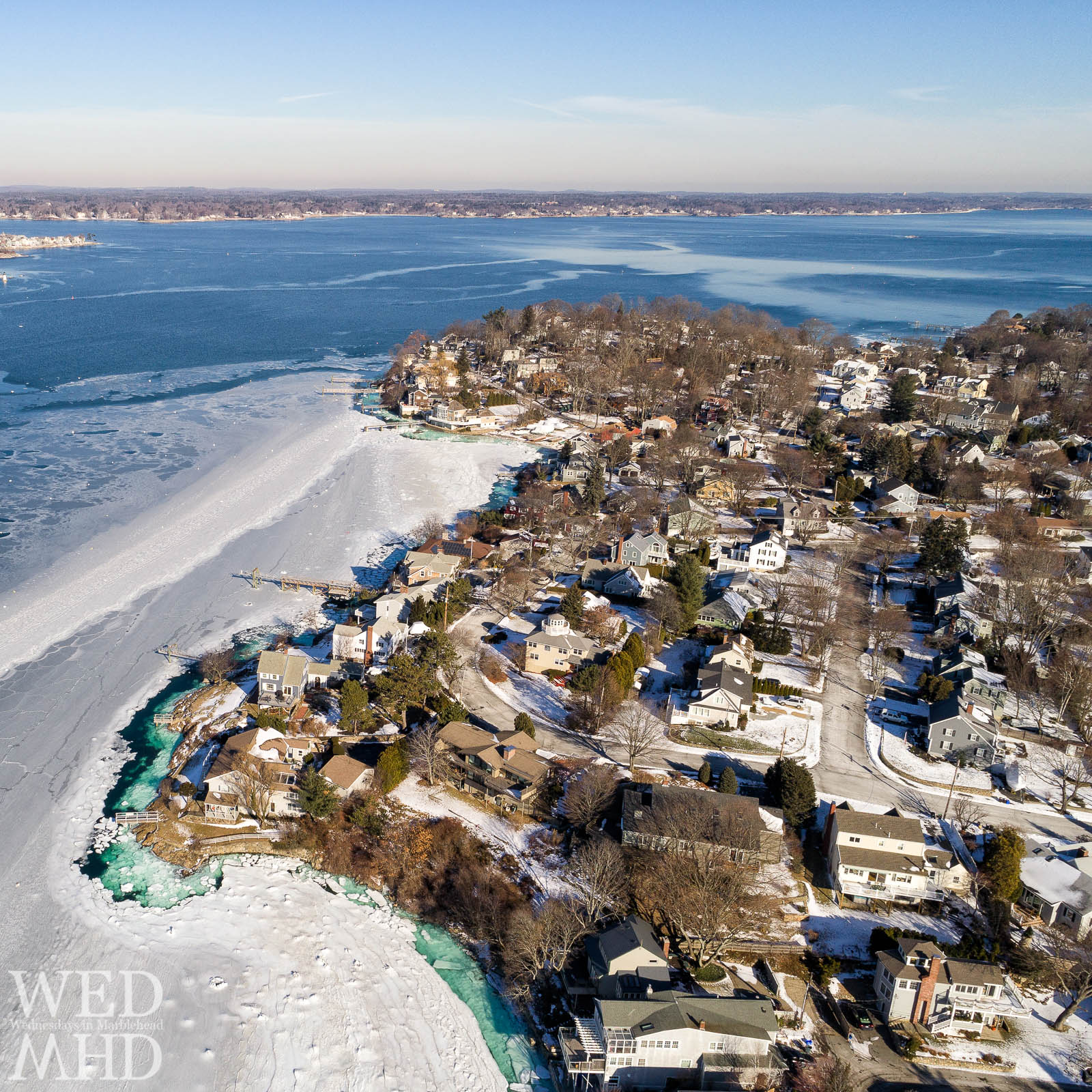 A Spring thaw is finally upon us and that put me in mind of this image of Folger Point and Naugus Head surrounded by ice