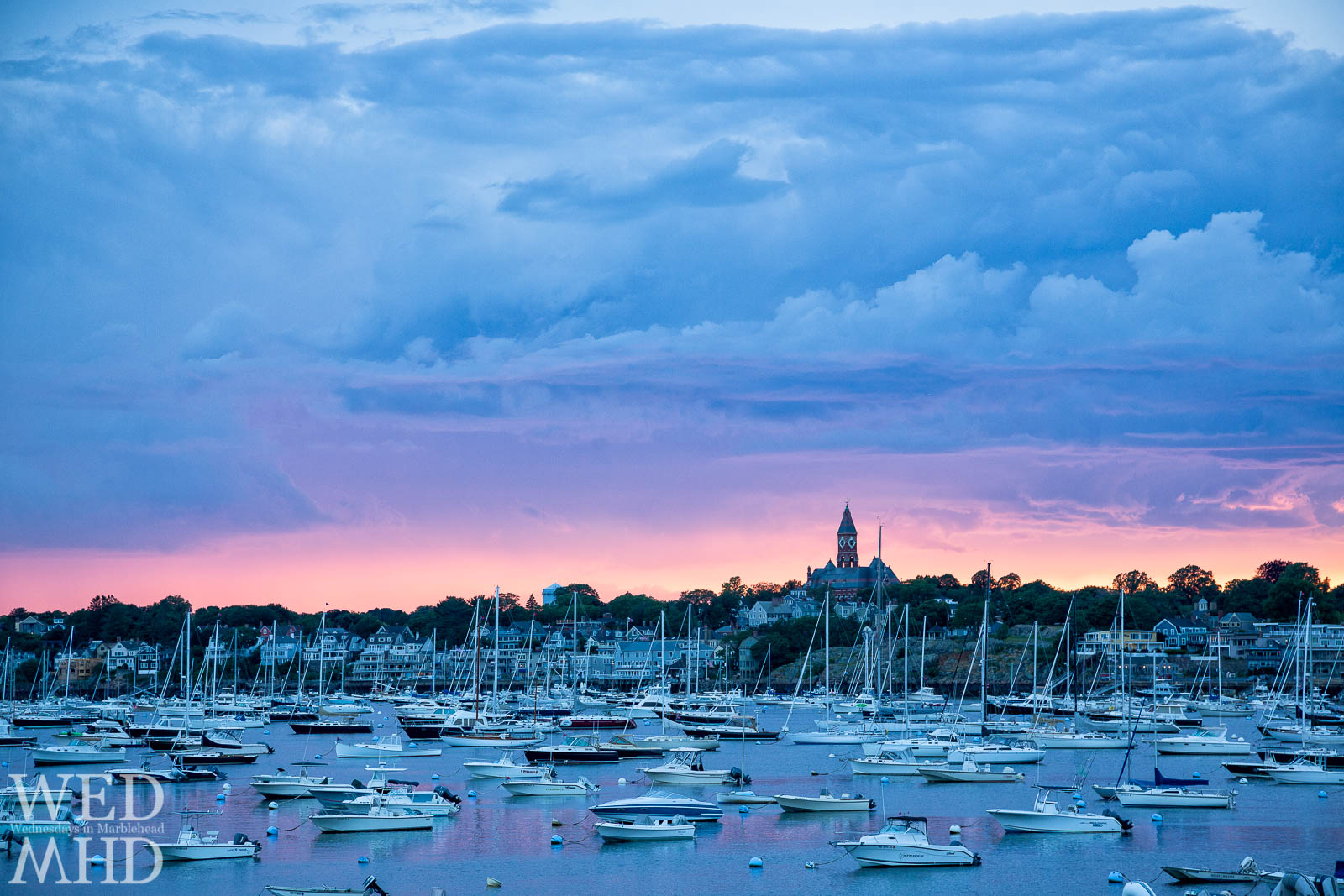 A full harbor and beautiful skyline make for unrivaled summer sunsets in Marblehead