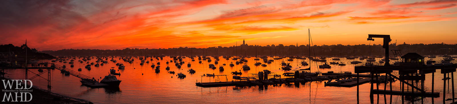 A late Summer sunset panorama from Corinthian Lane captures a full harbor and the whole of Marblehead's skyline