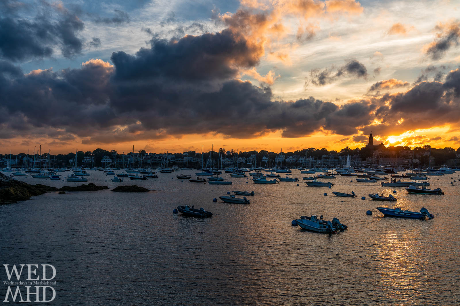 Just another Marblehead sunset captured on an August evening with a nice mix of clouds in the sky and boats in the water