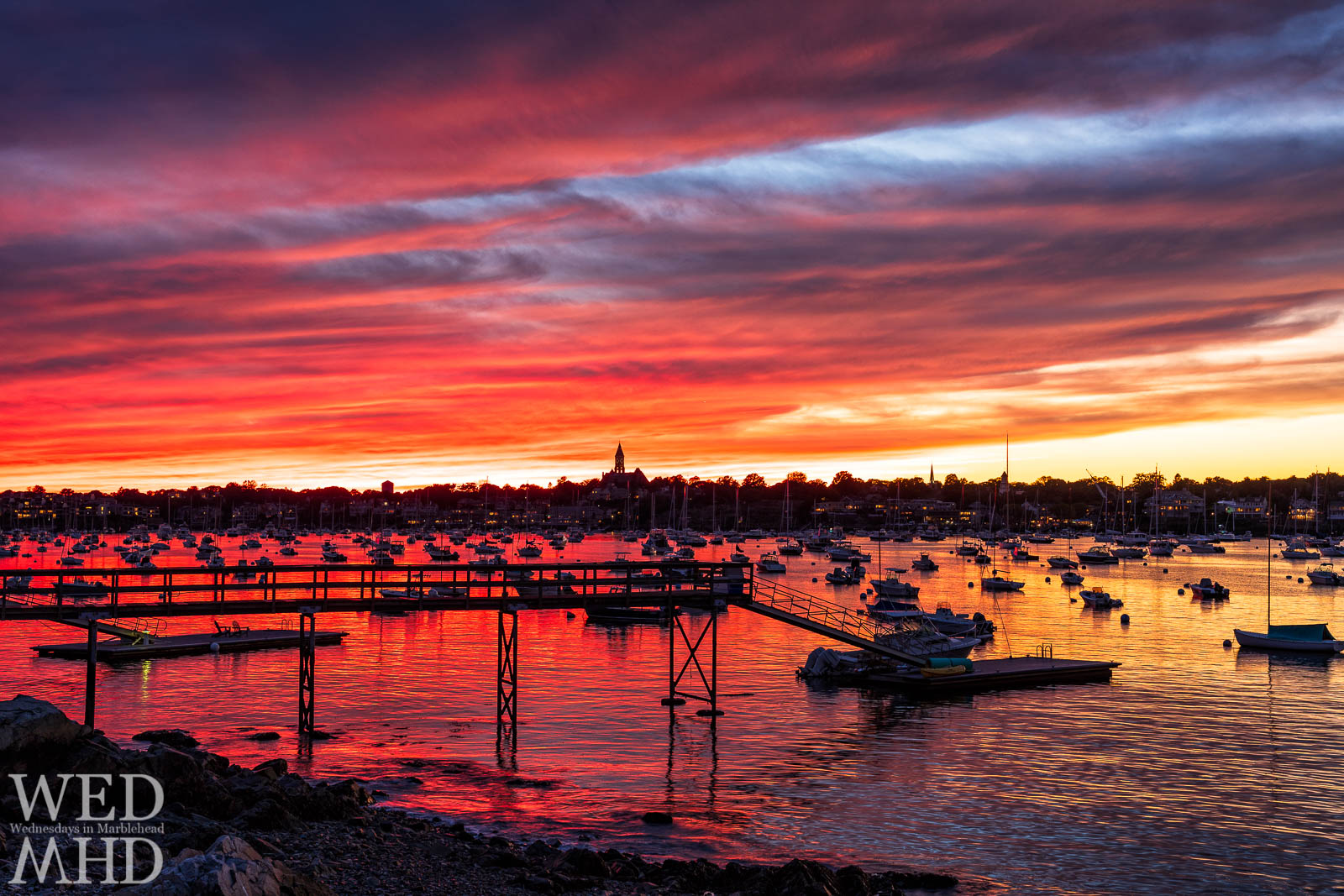 The end of the afterglow reveals a red sky at night to delight sailors in Marblehead and elsewhere