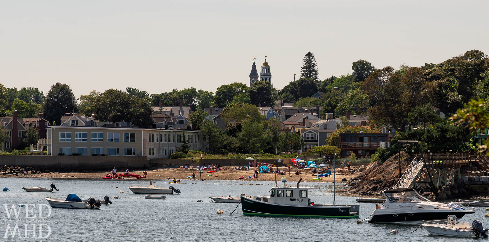 Looking back on Marblehead from Brown's Island to find the symbols of the last days of summer with a few beachgoers enjoying Labor Day sun