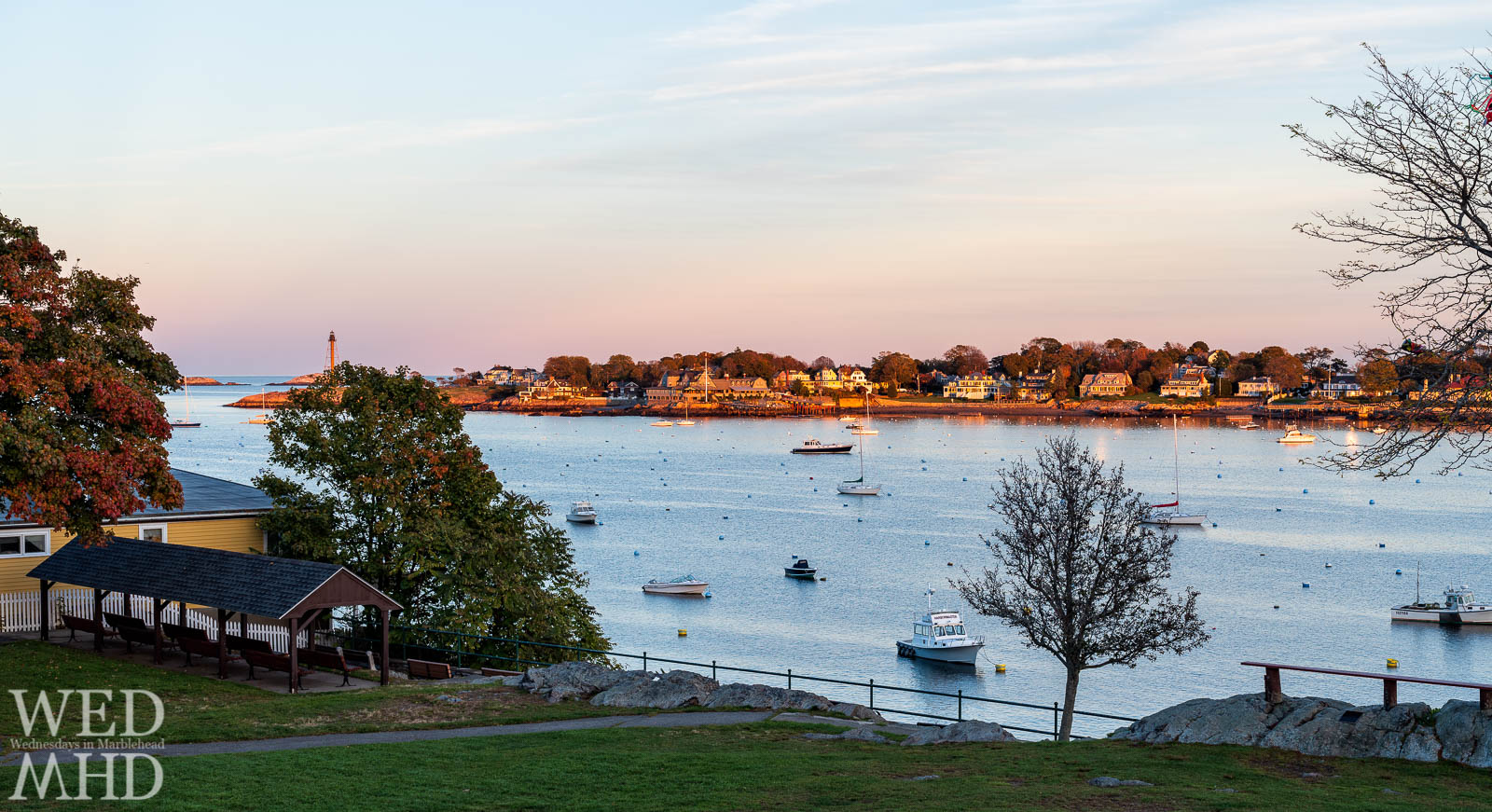 Fall in Marblehead features the beauty of foliage in the trees at Crocker Park but also the sad view of an emptying harbor