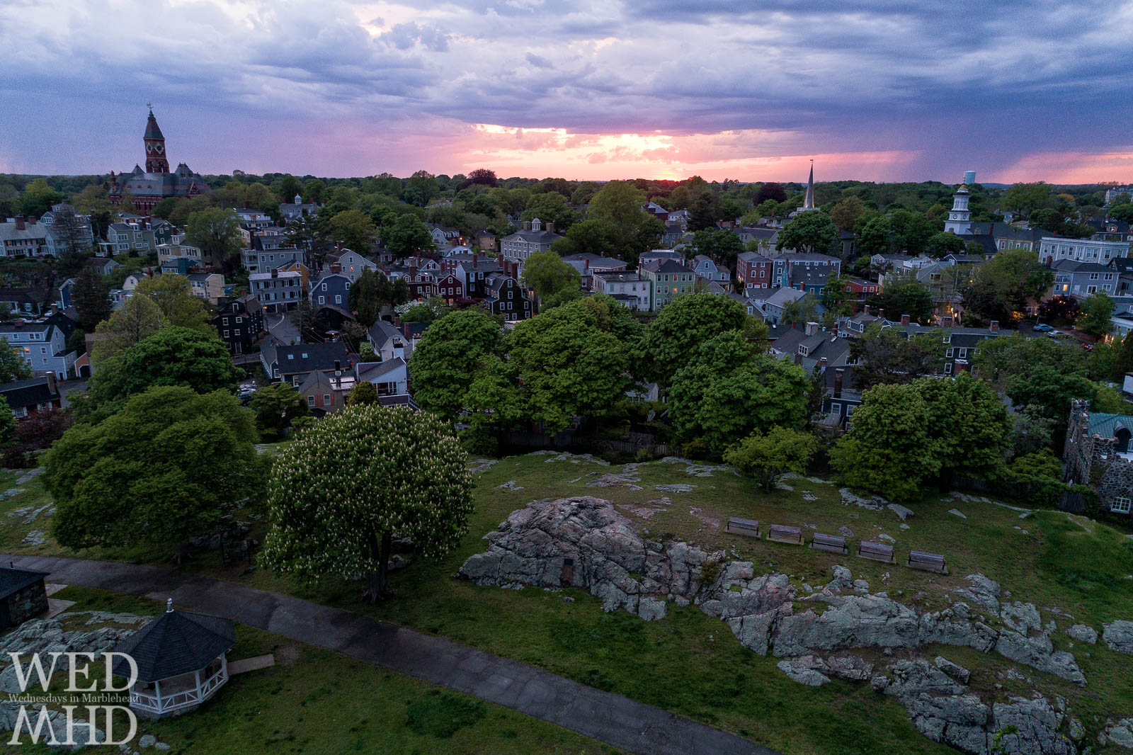 Flying over the chestnut tree at Crocker Park to capture a beautiful sunset above the Marblehead skyline