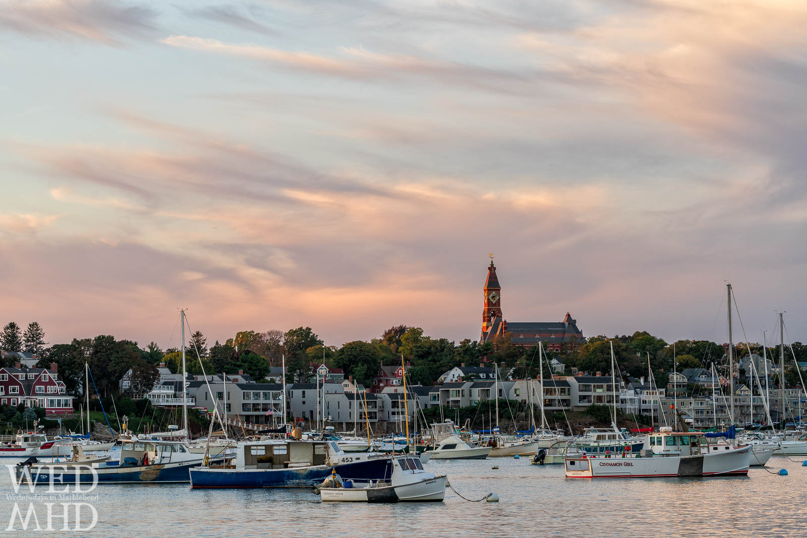 Abbot Hall seems to glow while being bathed in the sweet light of sunset on an early October evening in Marblehead