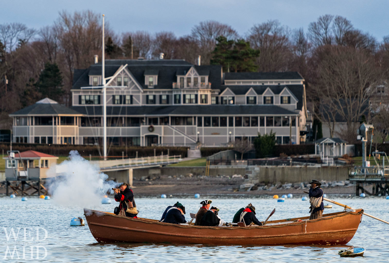 Glover's Regiment appears to become guardians of the Eastern Yacht Club as they fire during the annual Delaware crossing reenactment