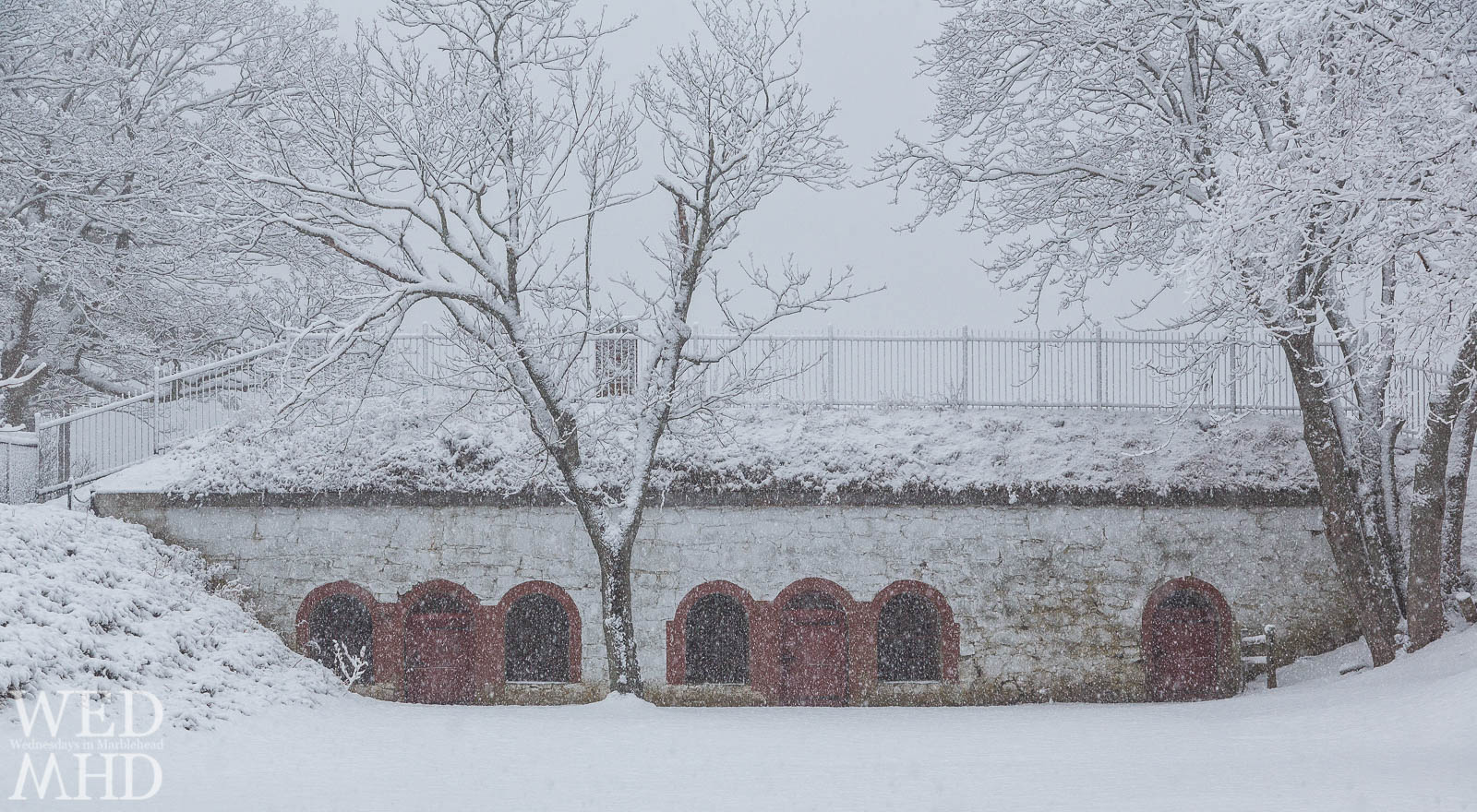 Fort Sewall is blanketed in white on a snow day in Marblehead captured when the arches were red and the tree still stood