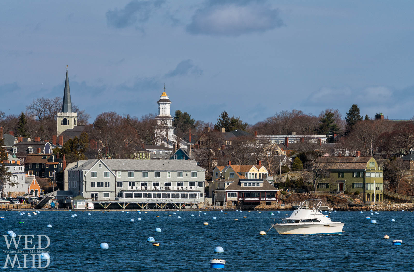The first one in to an empty Marblehead Harbor is this boat moored in front of the BYC