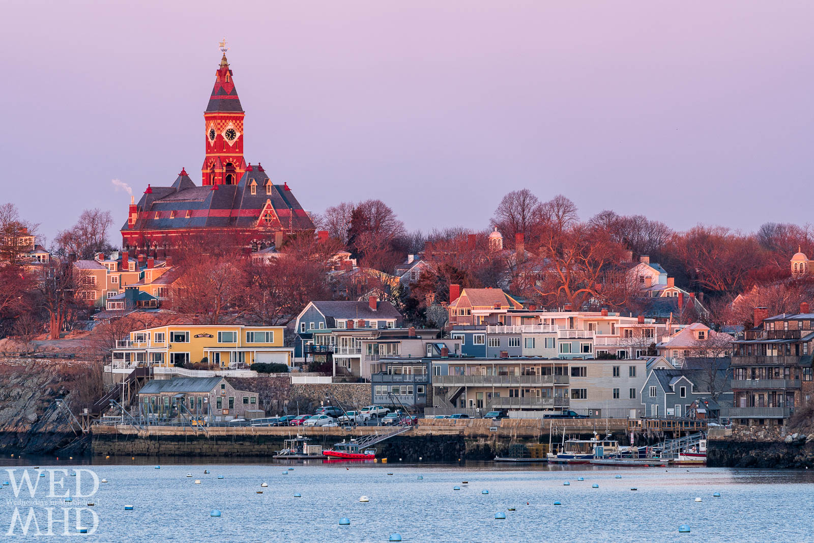 First light of day shines on Abbot Hall on a late March morning in Marblehead