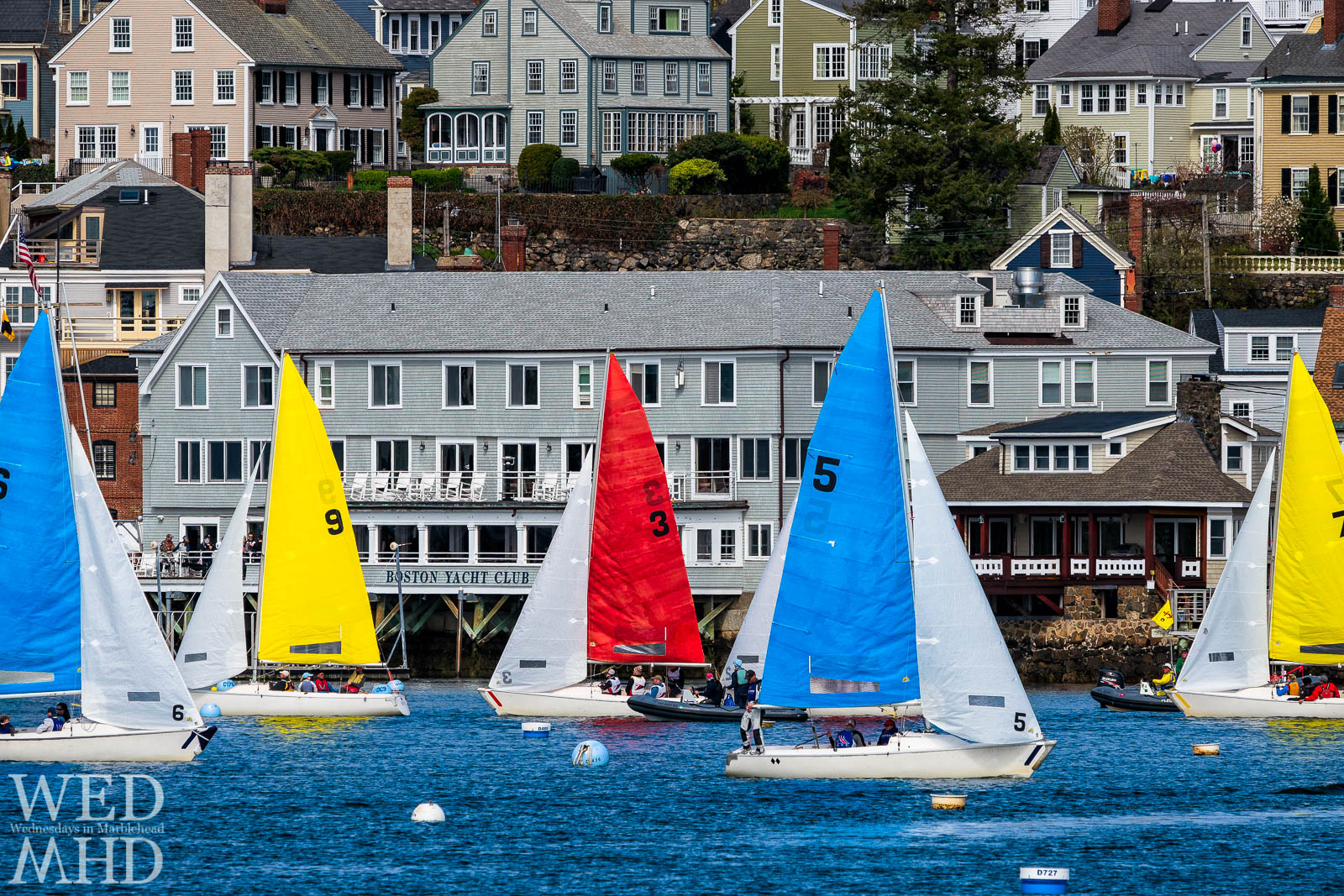 The race for the Jackson Cup took place this weekend in Marblehead harbor with boats crossing in front of the Boston Yacht Club