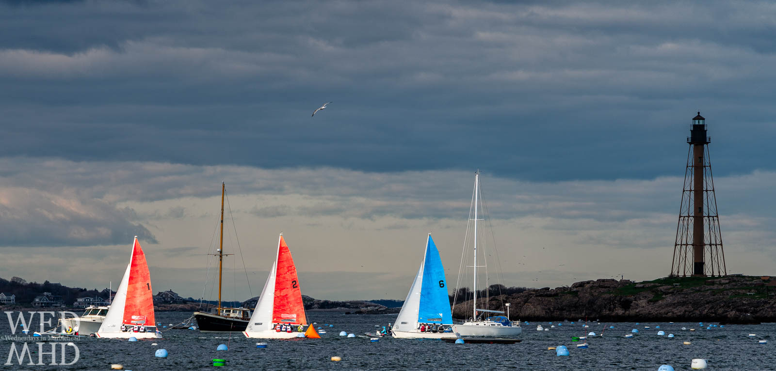 Three boats pass in front of Marblehead Light during the Jackson Cup race. I had one shot to capture this image I had envisioned.