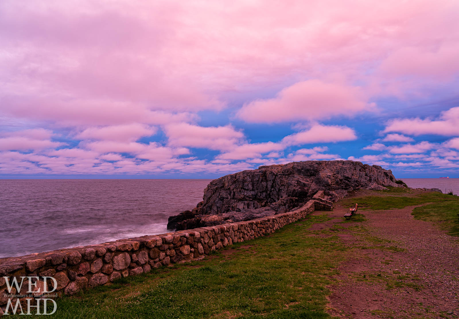 The sky turned bring pink-purple and bathed Castle Rock in crazy light on a late May evening in Marblehead