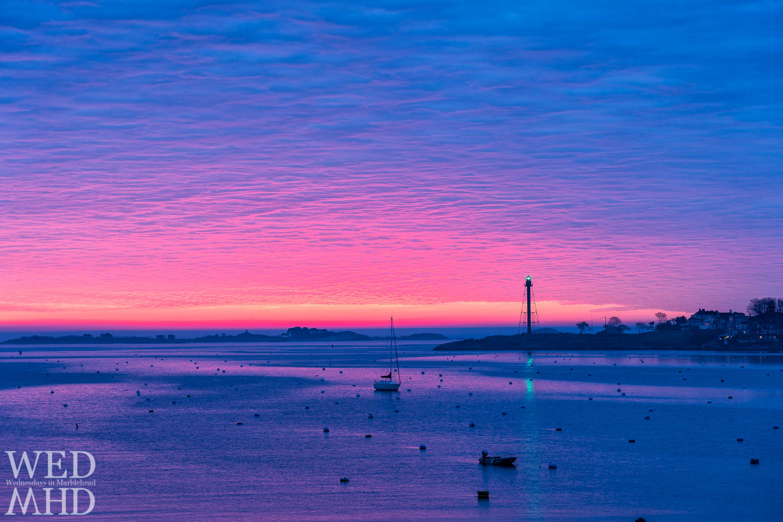 Sky-blue pink is said to be a fictional color with the term dating back to the 1880s but it appeared to come to life on this morning in Marblehead