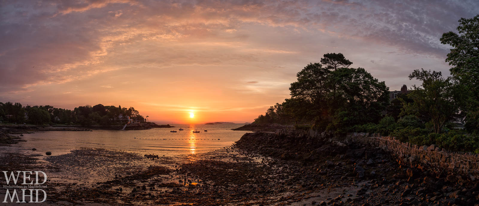 Doliber Cove and Grace Oliver Beach are captured at sunrise in this panoramic view encompassing Peaches Point and Brown's Island