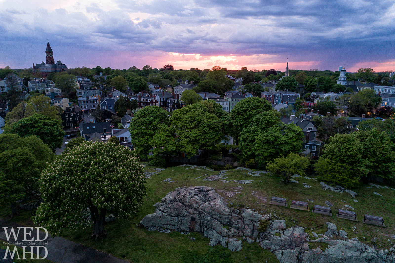 An aerial view of Abbot Hall and downtown Marblehead captured while flying over Crocker Park wtih a drone