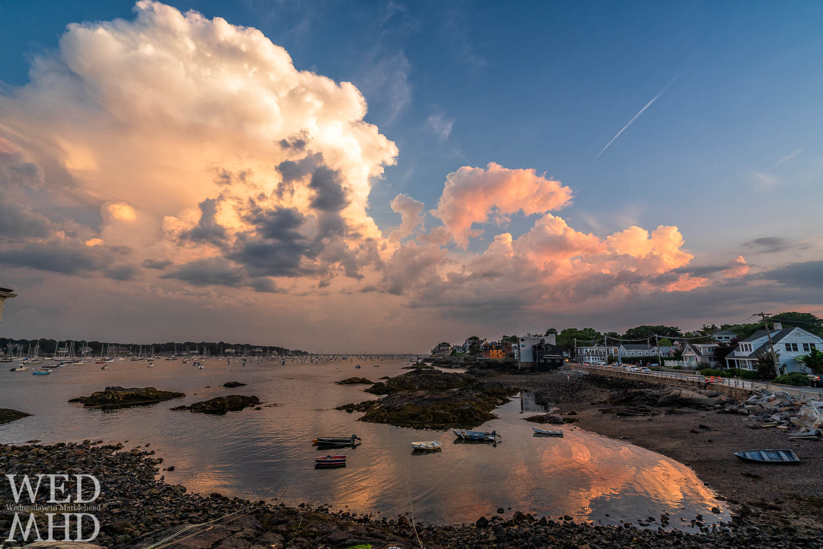A magical light display is reflected in the still waters of Fort Beach on July 3rd in Marblehead