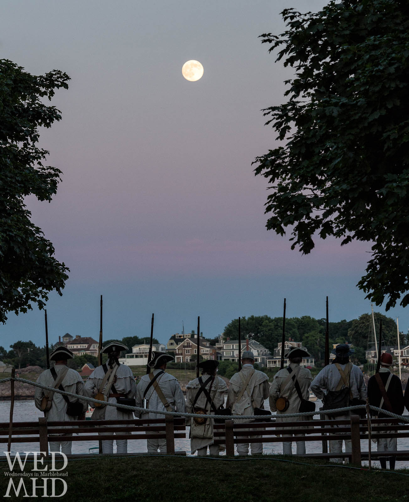 Glover's Regiment stands at attention at Fort Sewall under the light of a full moon