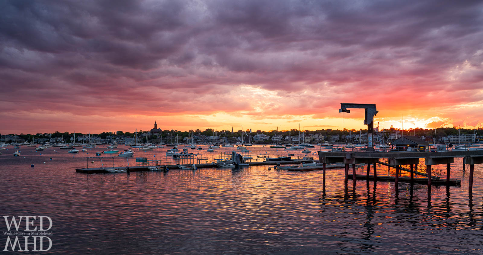 The end of May brings a picture perfect sunset view from Corinthian Lane on Marblehead Neck