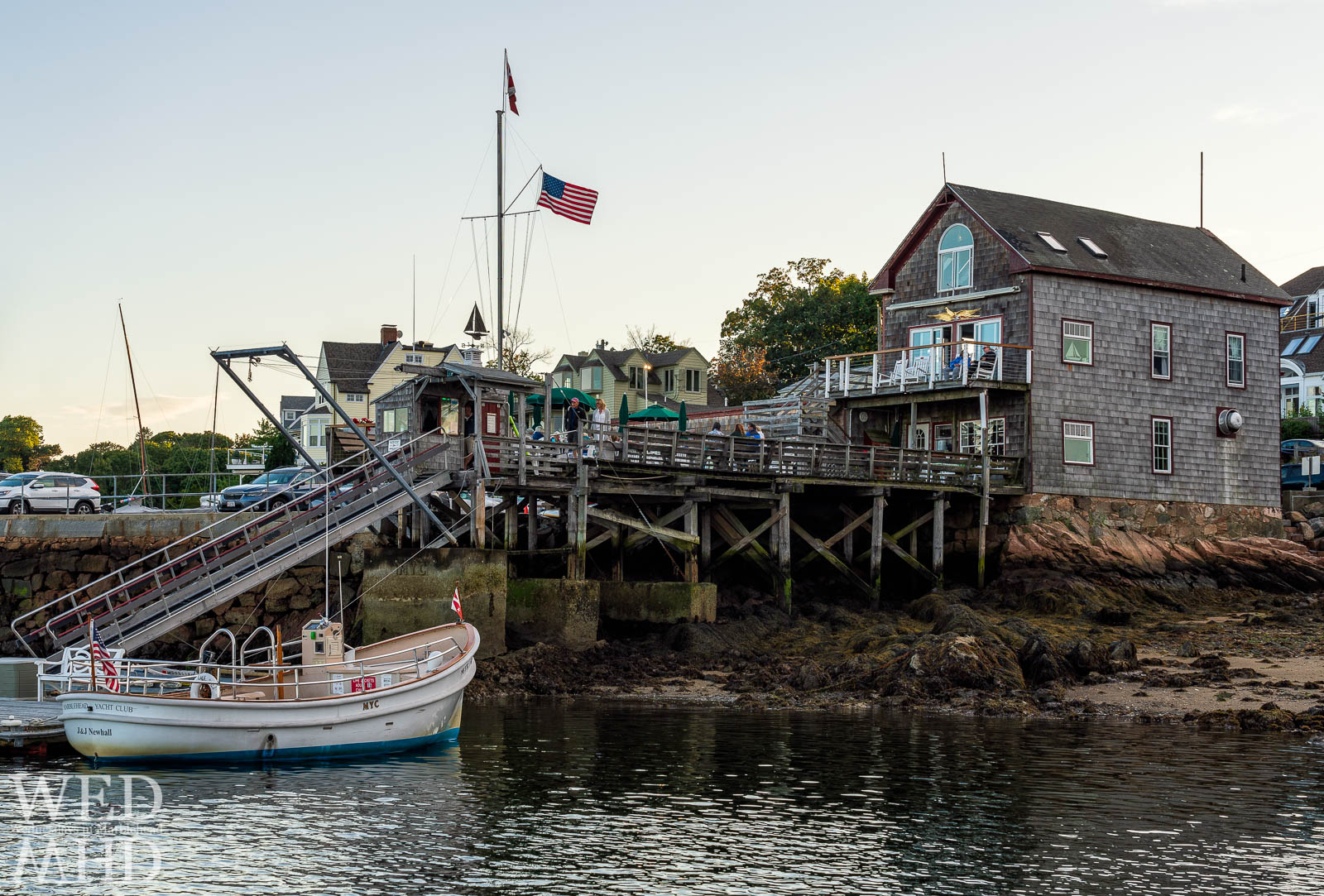Patrons enjoy dinner at the Marblehead Yacht Club during the Labor Day weekend in Marblehead