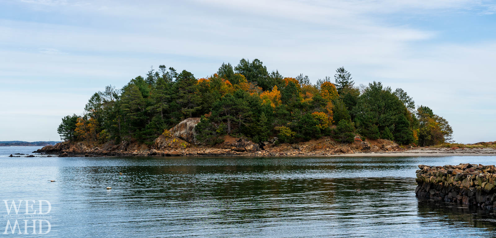 A hint of fall color appears on Brown's Island on a mid-October afternoon in Marblehead