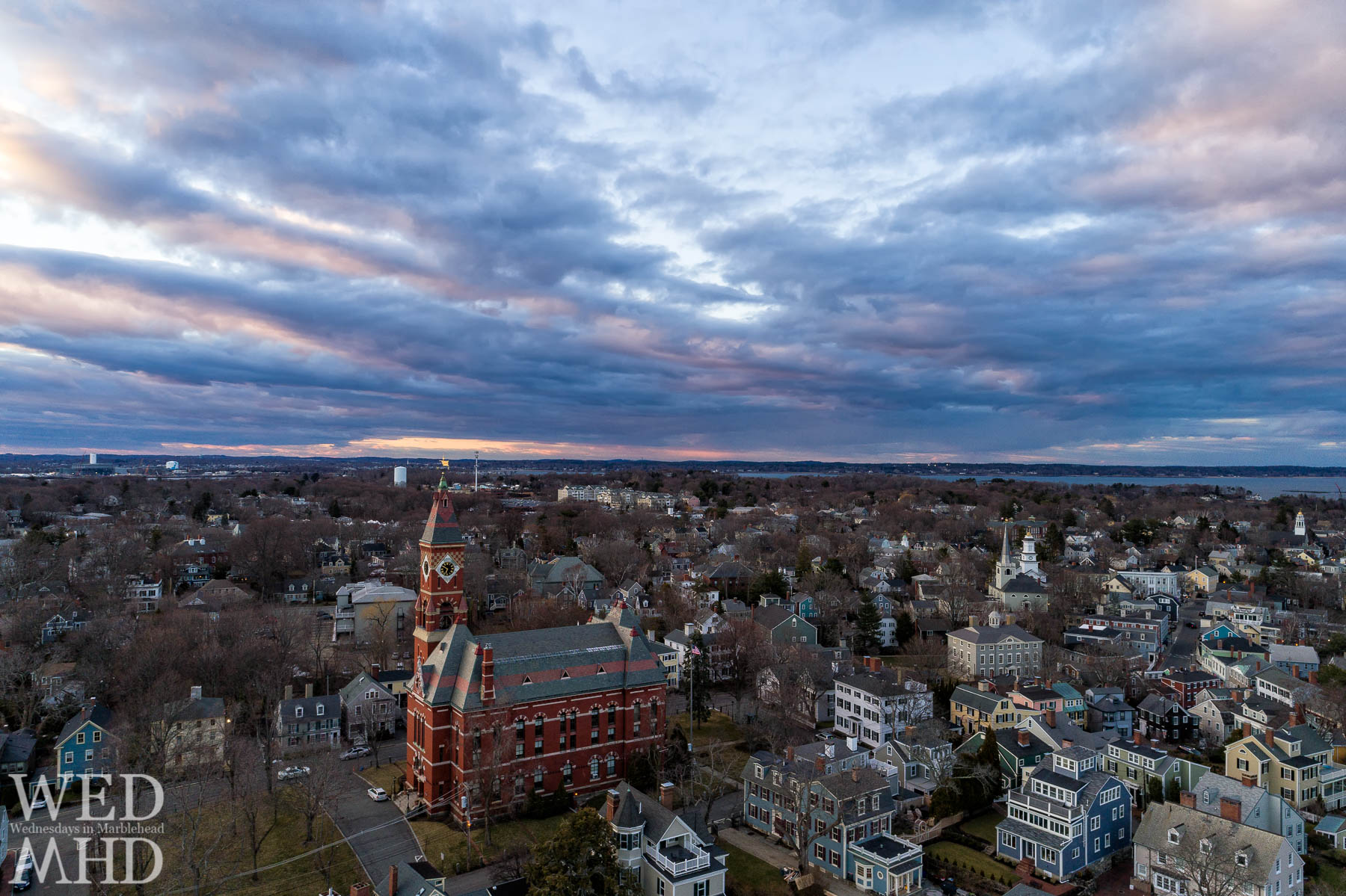 A view of Abbot from above captured at sunset on a late March evening shows the building without its temporary construction and the proximity of houses and other familiar landmarks