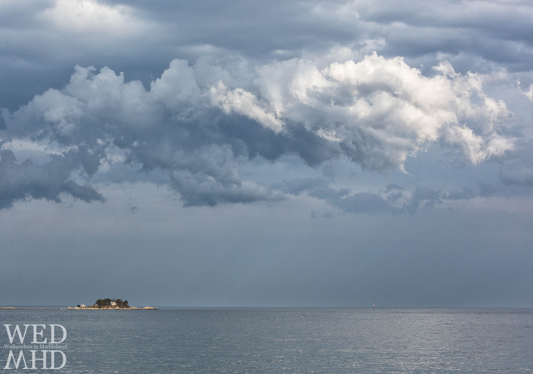 An interesting cloud formation over Tinker's Island in an early May evening in Marblehead
