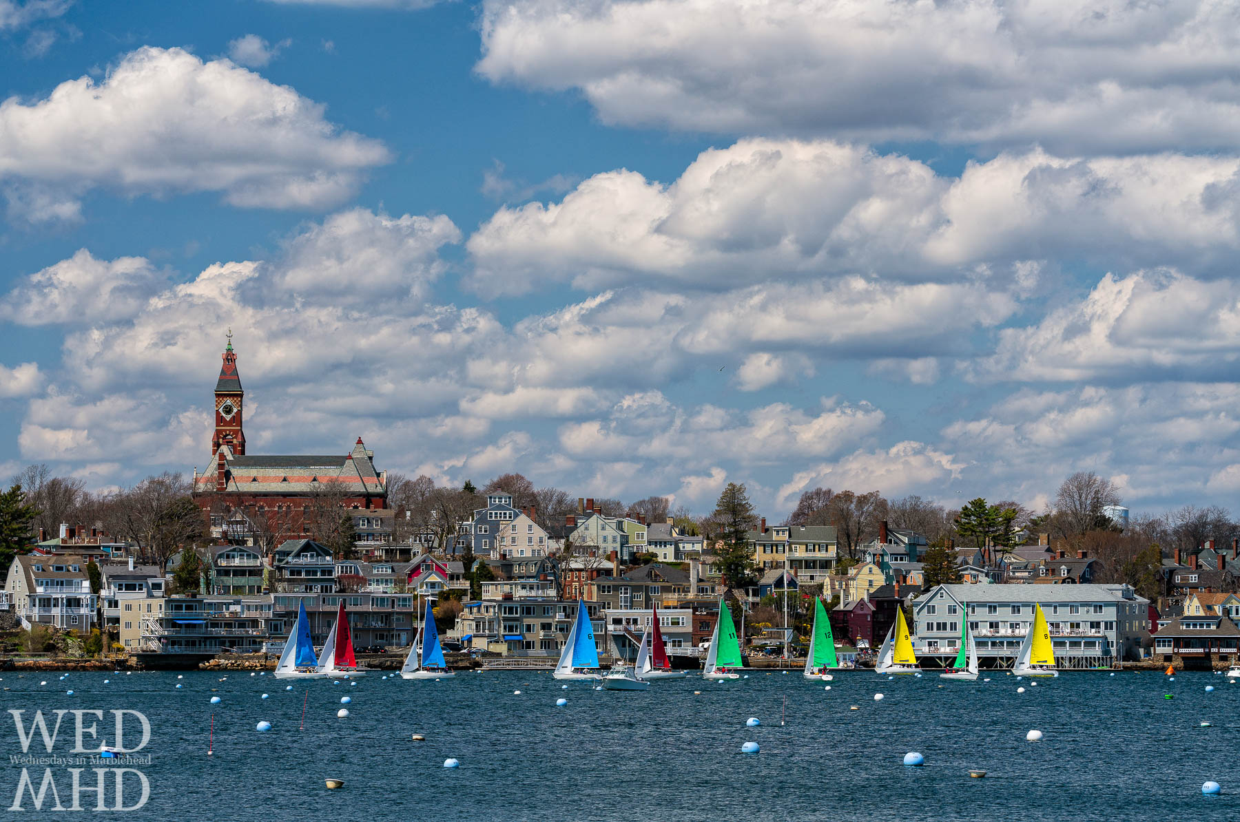On the last weekend in April, sailors are captured racing for the Jackson Cup within Marblehead Harbor