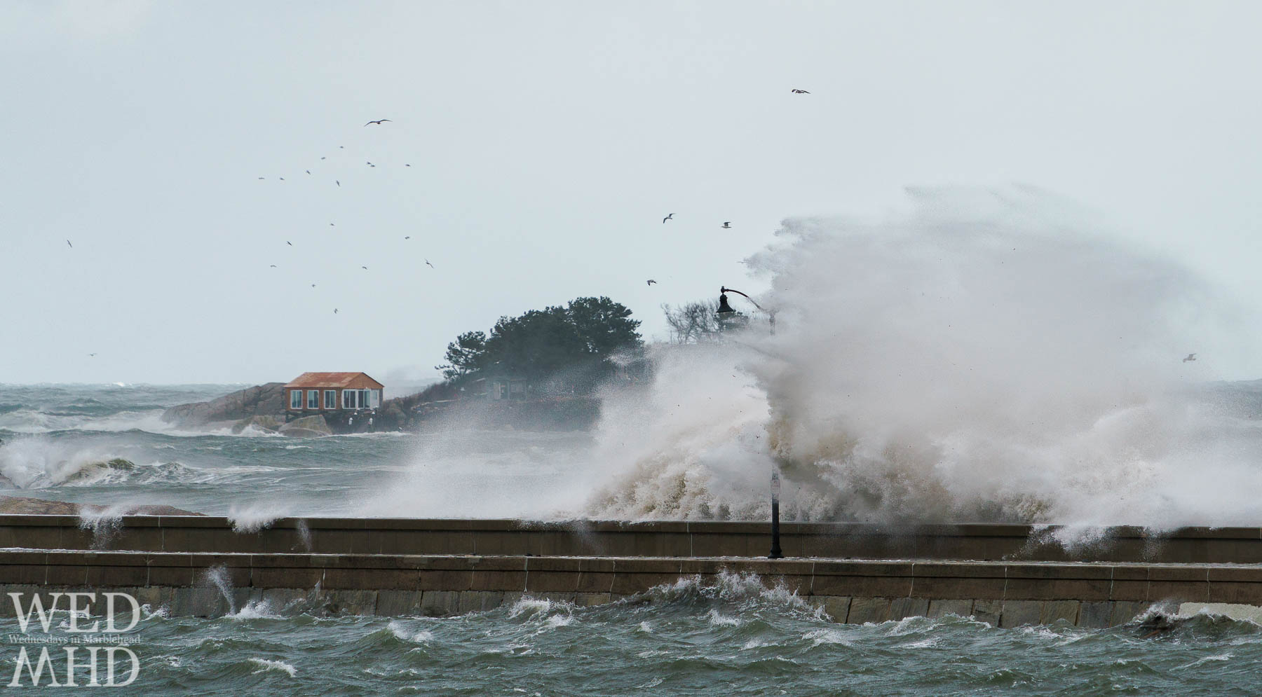 A raging storms slams against a lamp post along the causeway in Marblehead