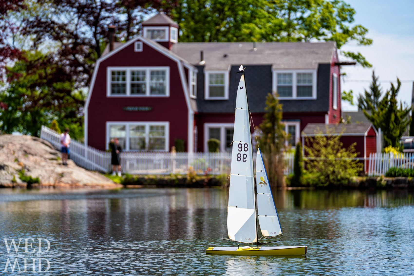 A visit to Redds Pond included capturing a Sunday sail with several boats in the water, people fishing and otherwise enjoying a warm May day