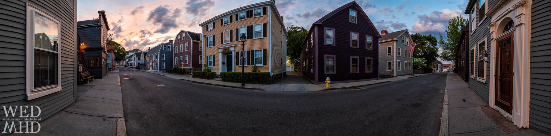 A 17-image panorama of State Street at sunset on a late June evening in Marblehead captures each stately home awash in different hues and colors