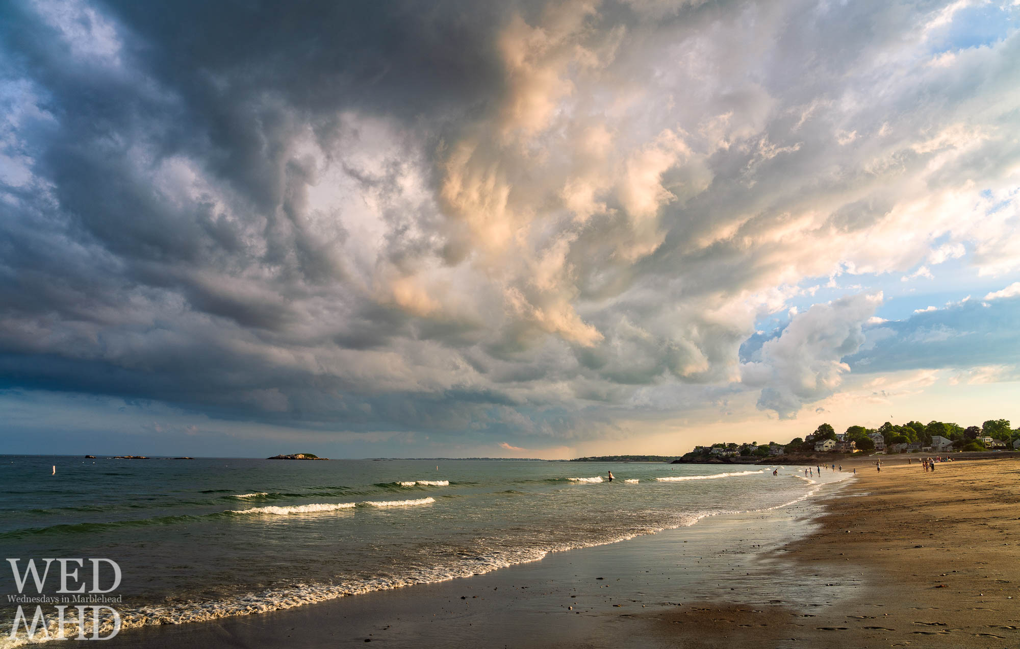 The start of an incredible sunset begins with these cloud formations on a summer evening at Devereux Beach in Marblehead