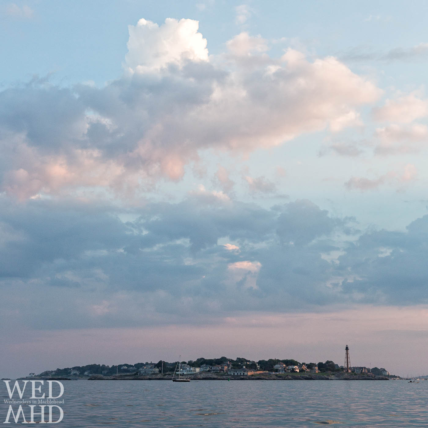 Chandler Hovey Park and Marblehead Neck seen on the approach to Marblehead harbor at sunset