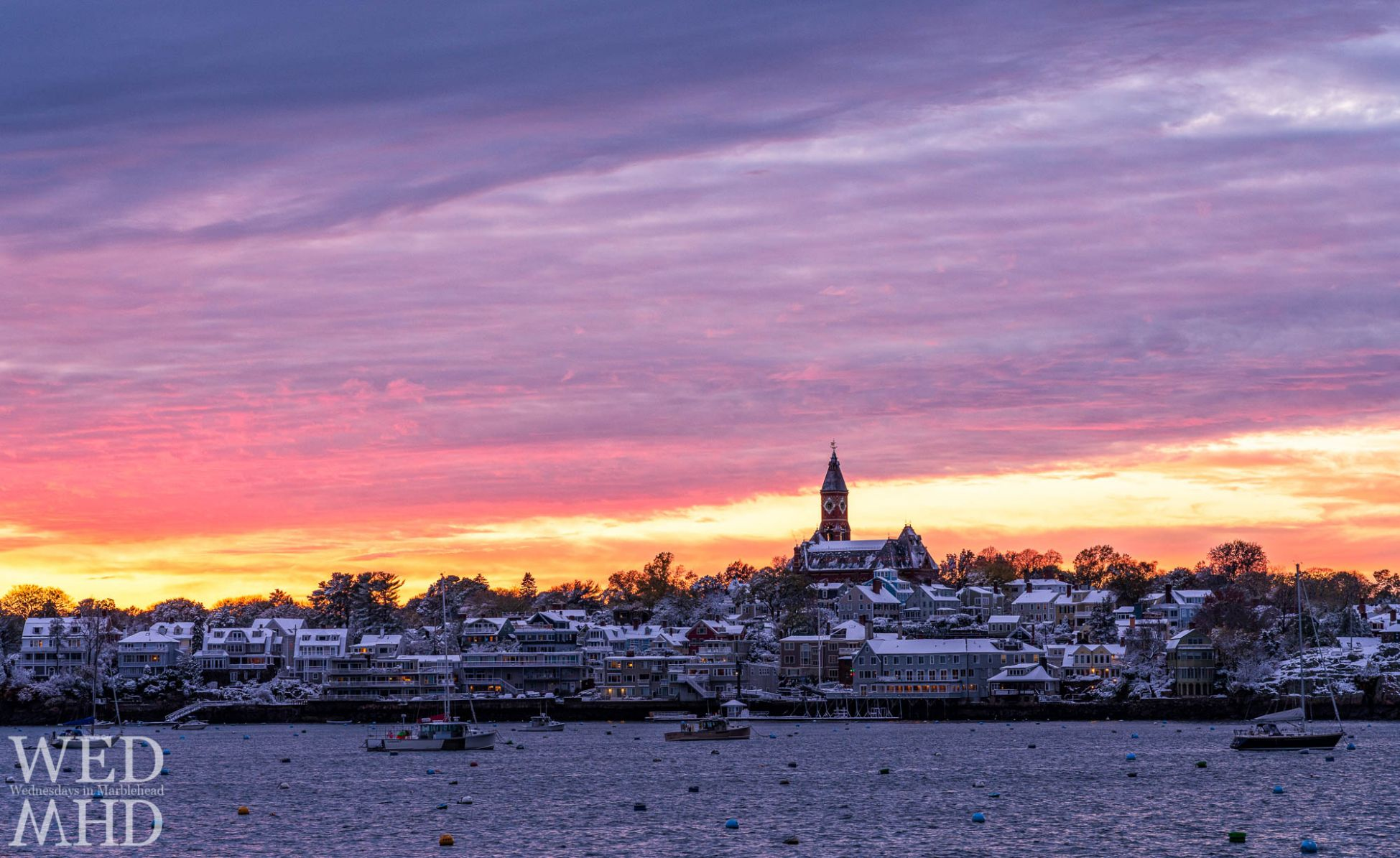 Sunset light reflects off the first snow of the season that fell on October 30th in Marblehead