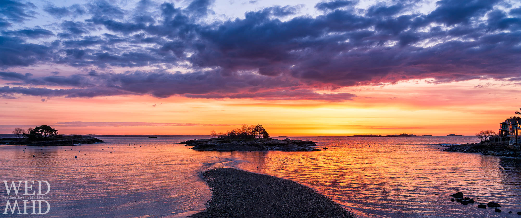 Dawn breaks over Gerry Island and Little Harbor on a spring morning in Marblehead