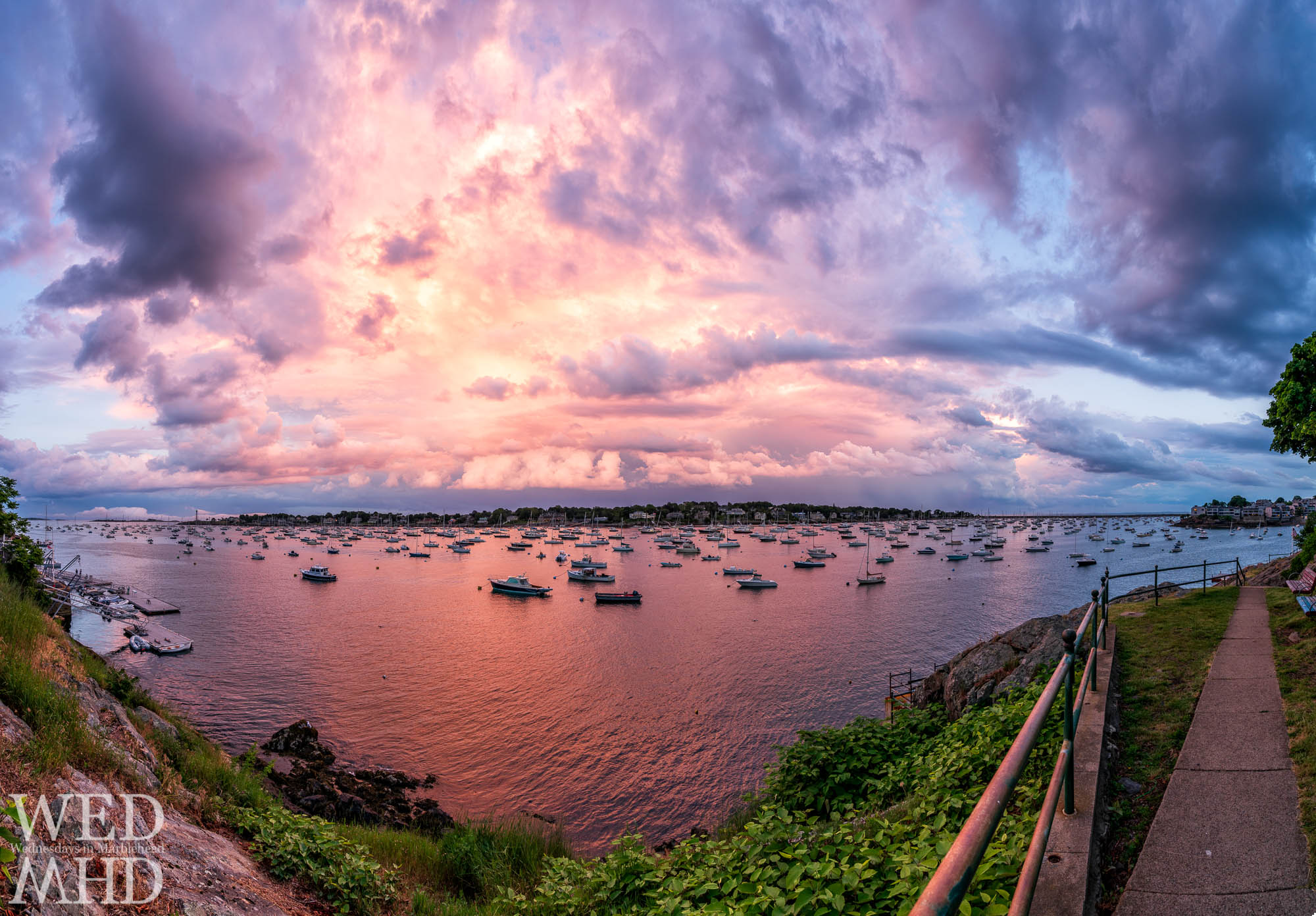 A big sky over Marblehead harbor captured with a wide angle panorama to take in the beauty of a late spring sunset