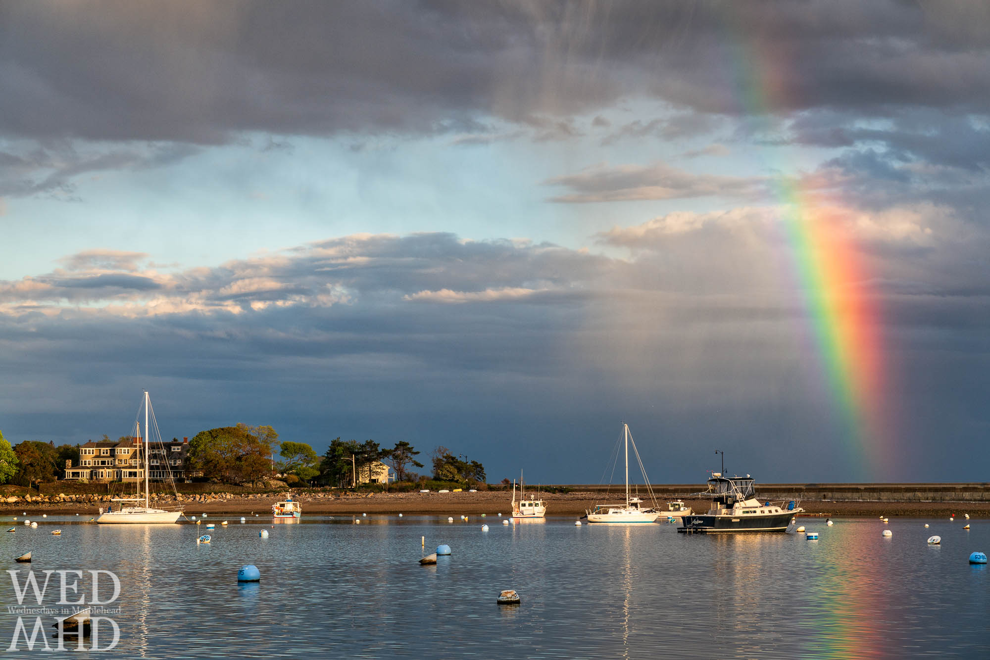 Late spring seems to hold the perfect conditions for rainbow weather as on this mid-May evening looking towards the causeway from Commercial Street