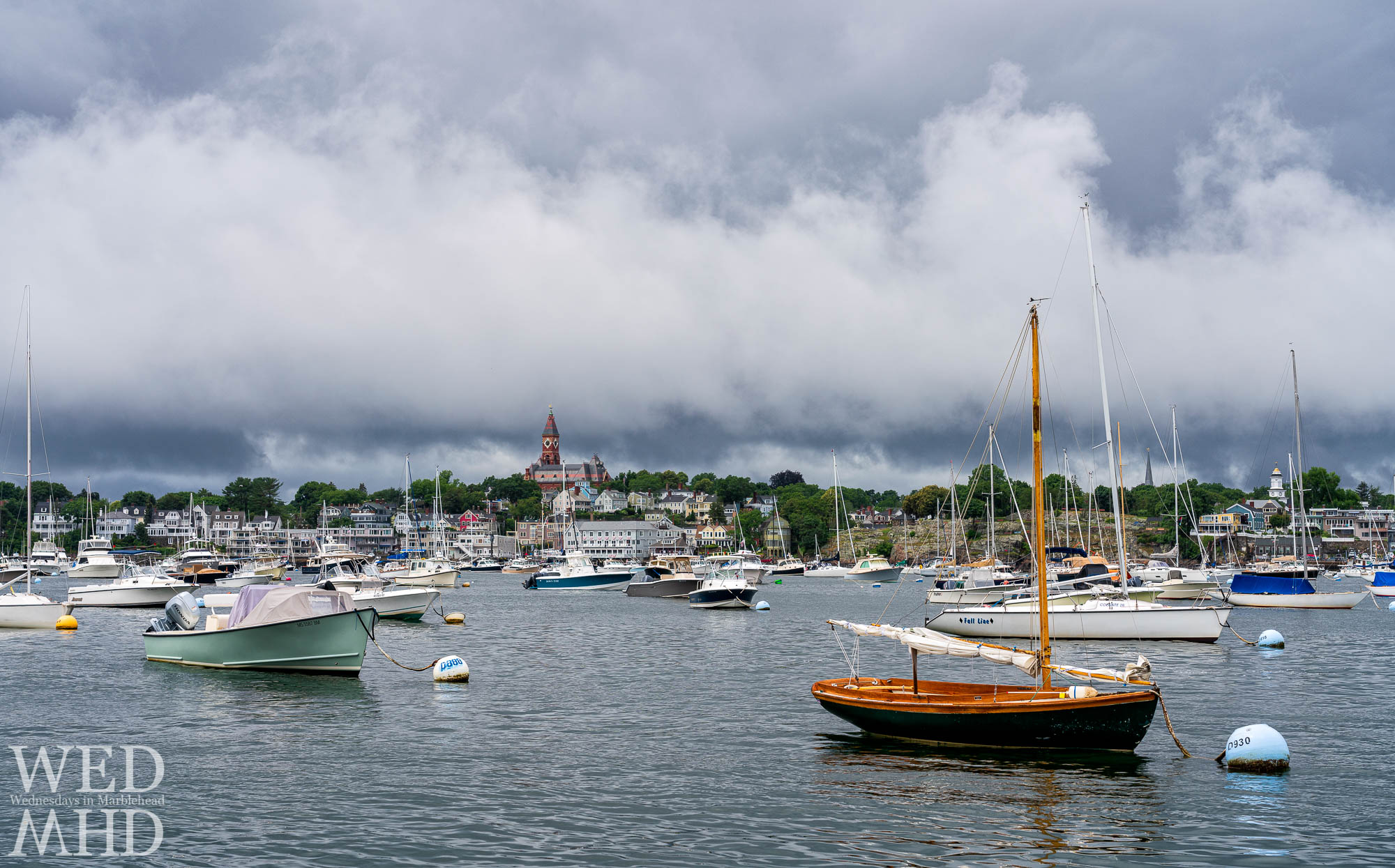 It was a wet Fourth of July in Marblehead but I found this scene between the raindrops as seen from the Pleon Yacht Club dock